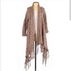 Tan/brown Akualani Boho Fringe Sweater